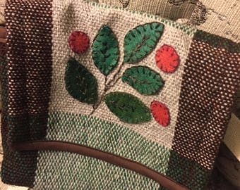 Handwoven/appliqued shetland wool handbag