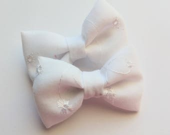 All white eyelet fabric hair bows-set of two- summer pigtail hair clip for baby toddler girls