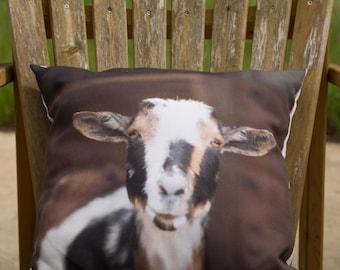 Goat Throw Pillow Featuring Frieda from Short Leg Farm