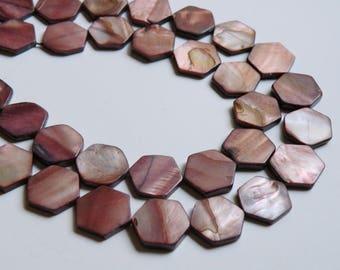 Mother of Pearl shell brown hexagon beads 17x5mm dark mauve bronze full strand 4484CX