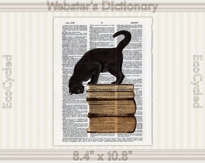Black Cat and Old Books 9 on Vintage Upcycled Dictionary Art Print Book Art Print Reading Read Literacy bookworm art gift book lover art