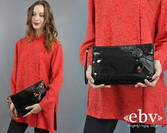 Patent Leather Bag Black Purse Black Clutch 80s Purse 1980s Purse 80s Clutch Black Patent Leather Black Handbag Rose Purse Leather Clutch