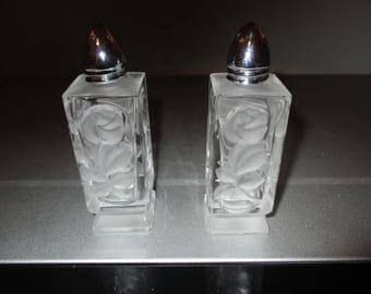 Vintage Pair of Pressed Frosted Glass Salt and Pepper Shakers