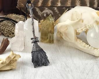Black Kyanite Besom pendant, witchcraft, witch's broom, besom, witch jewelry, bone jewelry, gothic jewelry