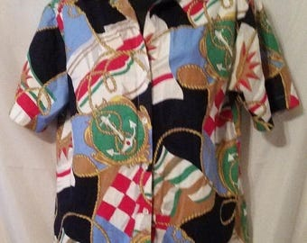 """SUMMER CLEARANCE SALE 80s Vintage Henry Geist Nautical Baroque-Resort Cruise Wear-Front Button-Man Tailored Blouse-Size 6-Medium-38"""" Bust-Ca"""