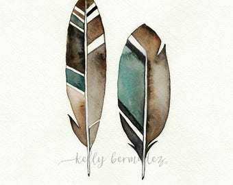 Feather Painting, Feather Wall art, Earthy Feather, Watercolor Feather, Feather Art