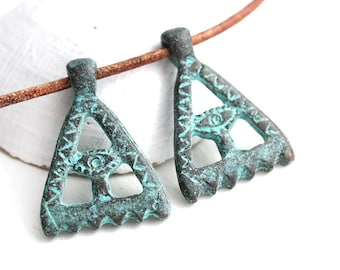 Pyramid Eye pendant charm, Verdigris Green Patina on copper, Illuminati sign, Evil eye beads, 2pc - F621