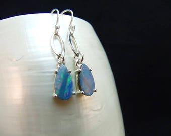 Australian Opal Doublet Sterling Silver Earrings