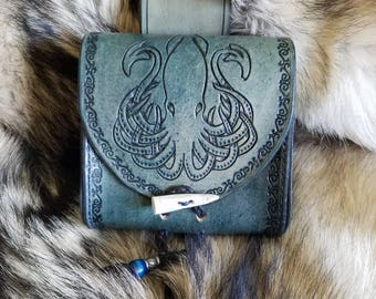 Leather belt pouch with squid design, made to order