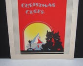 RESERVED 4 D 1930's-40's die cut art deco silver gilded Carrington christmas card  2 terrier dogs in black silhouette sit next to fireplace