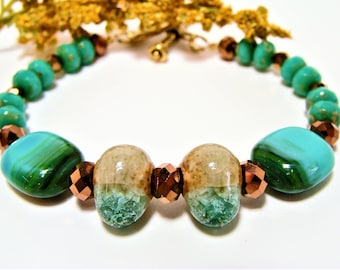 Green Turquoise Beaded Bracelet with Earthy Teardrop Focal Beads: teardrop bracelet, green turquoise,  gifts for her, copper rondelles