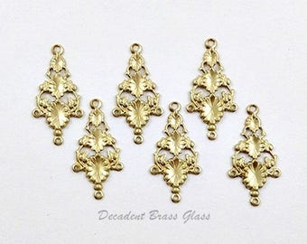 Floral Connector, Brass Connector, Chandelier Earring, Earring Connector, Raw Brass Stamping, 16mm x 31mm - 6 pcs. (r338)