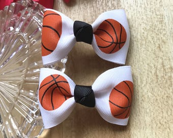 """Set of 2 Bows ~~Basketball ~~~Sport~~2.5 """" Hair Bow~~Small Bows~~ Girls Hair Accessory~~Simple Hairbow ~ Kids Barrette ~~"""