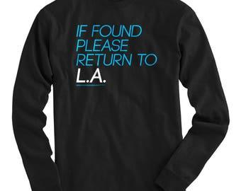 Return to Los Angeles Tee - Long Sleeve T-shirt - Men S M L XL 2x 3x 4x - La Shirt, LAX Shirt, Travel Shirt, Nomad Shirt, Traveler Shirt