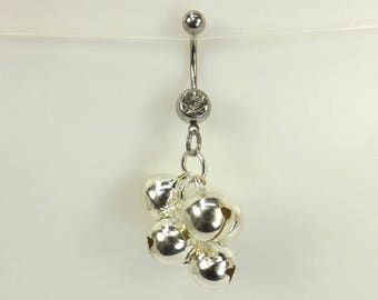 Belly Ring navel ring with bells ringing bells belly button jewelry body jewelry curved barbell navel ring