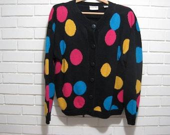 Vtg black raime/cotton cardigan with neon polka dots oversize L