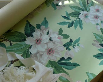 Vintage Wallpaper Partial Roll White Floral Jadeite Green Background 40s 50s wallpaper 1940s Wall Decor