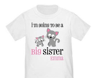 ON SALE Big Sister Kitty Cat Personalized T Shirt Big Sister tshirt