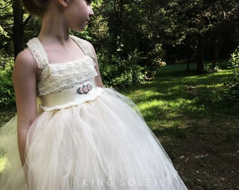 Queen Anne's Lace Flower Girl Dress with Custom Embroidered Sash