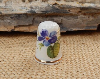 Purple Flower Porcelain Thimble Made in England  ~  Purple Floral Thimble  ~  Purple Flower Thimble