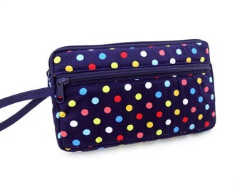 Polka dot zipper pouch, Wristlet wallet, Cosmetic bag, Cell phone bag, iPhone wallet case, Dark blue clutch