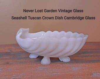Seashell Crown Tuscan Footed Oval Dish Milk Glass Cambridge Glass Company