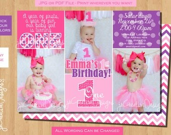 1st birthday party invitation first birthday invitation girl 1st birthday invitation 1st birthday girl invitation Purple Pink photo custom