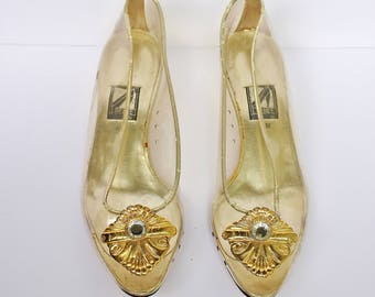 """80s Gold J. Renee Couture Clear Jelly Shoes 1"""" Low Heel Slip Ons Size 6M, AS IS"""