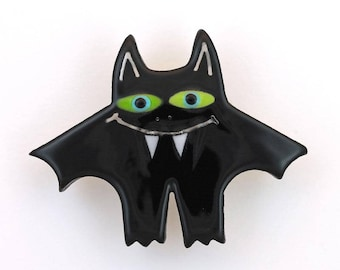 Bat Pin Bat Brooch Handmade Ceramic with 22k White Gold Accents by Sean Brown