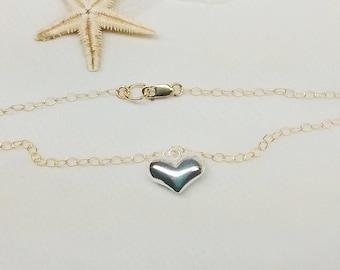14kt Gold Chain Silver Heart Bracelet Silver Sterling Heart Bracelet 14k Gold Filled Chain Bracelet Gold Filled Bracelet BuyAny3+Get1 Free