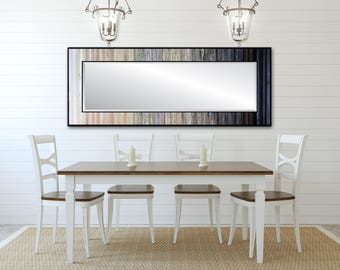 "Reclaimed Wood Mirror - 25x70"" - White Gray Black Leaner Mirror, Floor Mirror - ""Ombre Reflection""- Modern Wood Wall Art- Reclaimed Wood Art"