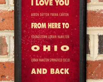 Ohio OH I Love You From Here And Back Wall Art Sign Plaque Gift Present Personalized Custom Color Home Decor Vintage Style Cleveland Classic