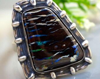 Opal Ring, Australian Boulder Opal, Opal Silver Rings, Australian Opal Ring, Izovella Jewelry