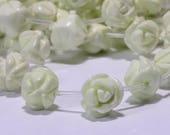 Lemon Chrysoprase Rose Carved  12 mm 2 Beads Rose Carved Beads Rose Beads Flower Beads Jewelry Making Supplies