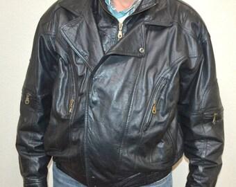 Vintage City Streets Men's Leather Racer Jacket  Size XL biker winter coat Leather Bomber Jacket - Motorcycle Jacket