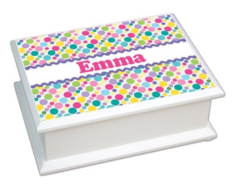Personalized Bubble Gum Polka Dots Lift Top Jewelry Box Bright Blues Greens Bubblegum Pink Nursery jeweb-pat-404