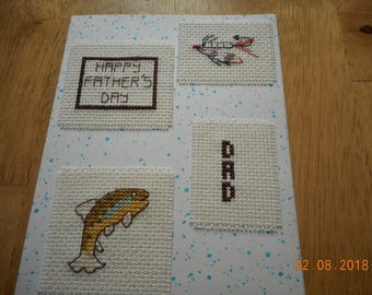 Father's Day card,Fish,lure, Dad,Happy Father's Day,cross stitch card,hand made card