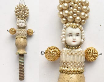 Pearl Princess, encrusted jewelry altered art doll mixed media assemblage, handmade ornament by Elizabeth Rosen