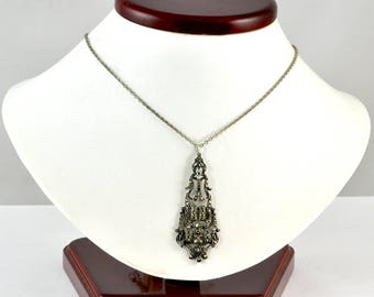 "Vintage 1910s Marcasite Element Converted to Pendant on 16.25"" Chain - 935 Silver German"