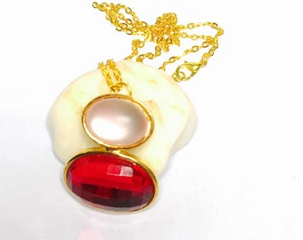 Geometrical Pendant, Gold Tone, Matching  Necklace, Pink & Red, Clearance Sale, Item No. B338