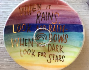 Ceramic ring dish with rainbow and hand lettered quote, valentine's gifts under 30, pride gift, LGBTQ gift, gift for partner