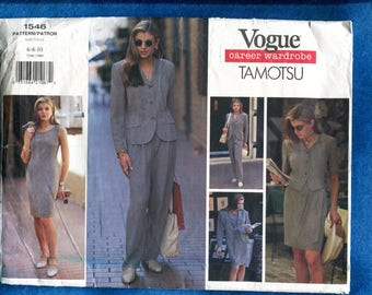 Vogue 1546 TAMOTSU  Career Wardrobe Form Fitting Dress Jacket Pants and Skirt Sizes 6..8..10  UNCUT