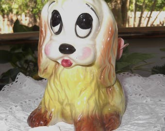 Vintage Ceramic Puppy Dog Planter Yellow Dog Planter  Cockerspaniel House Planter
