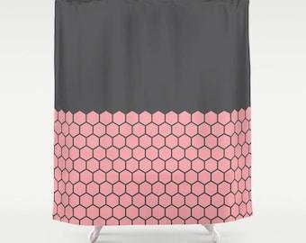 10 colours, Vintage Rose, Hexagon Honeycomb Half Pattern Shower Curtain, minimalist geometric bathroom shower curtains, charcoal black decor