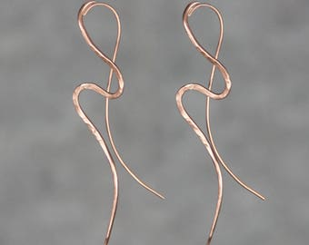 Copper textured hammered abstract wavy Earrings Bridesmaid gifts Free US Shipping handmade Anni designs