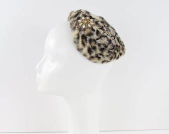 SALE Vintage 1950s Cheetah Print Cocktail Hat – Vintage Formal Half Hat in Faux Fur
