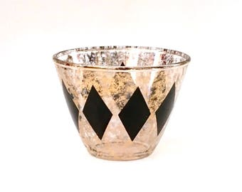 Retro Gold and Black Ice Bucket, Gold Dust, Mad Men Wine Chiller,Harlequin Pattern
