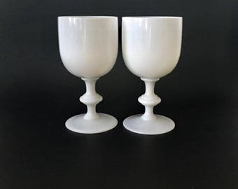 Vintage Pair of White French Portieux Vallerysthal Opaline Wine Glasses/Water Glasses, Goblets