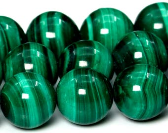"9-10MM Malachite Beads South Africa Grade AAA Genuine Natural Gemstone Full Strand Round Loose Beads 15.5"" BULK LOT 1,3,5,10,50 (101766-414)"