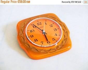 SALE 20% off Vintage Wall Clock, Vintage ceramic clock , Wall clock , Ceramic Orange Clock, German clock, Wall hanging clock, Kitchen wall d